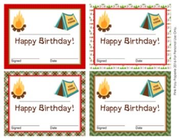 Camping Theme Birthday Certificates