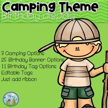 Camping Theme Birthday Display - Editable