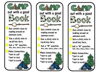 Camping Theme Bookmark - Reading Strategies