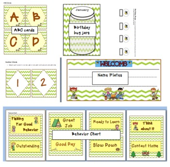 Camping Theme Bundle- Classroom theme (printables)