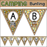 Camping Theme Bulletin Board Letters Editable Banner - Woodland Animals Bunting