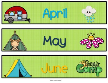 Camping Theme Calendar