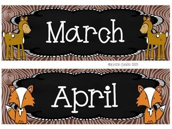 Camping Theme Calendar Months Animals