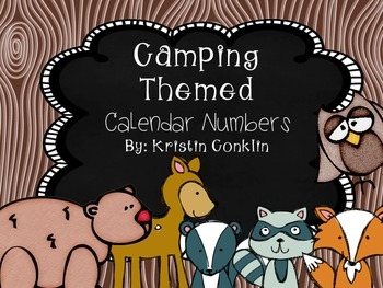 Camping Theme Calendar Numbers Woodland Animals