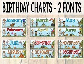 Camping Theme Calendar Set - Editable! Camping Theme Classroom Decor