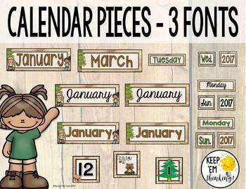 Camping Theme Calendar Set - Editable! Camping Theme Classroom Decor