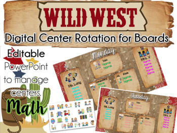 Wild West Theme Center Rotation Board (Center Rotation PowerPoint) Math