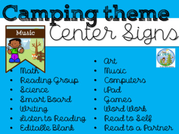 Camping Theme Center Signs