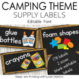 Camping Theme Chalkboard Supply Labels: Camping Theme Clas