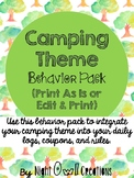 Camping or Woodland Animals Theme Classroom Behavior Pack