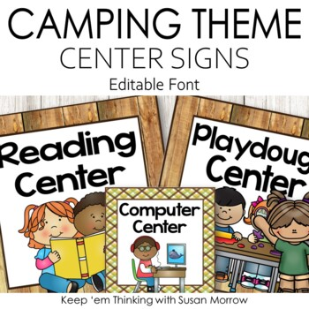 Camping Theme Classroom Center Signs: Camping Theme Classroom Decor