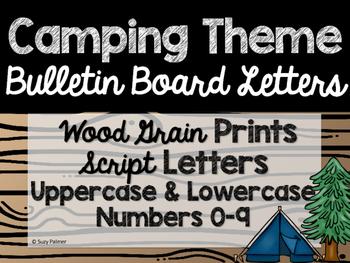 Camping Theme Classroom Decor: Bulletin Board Script Letters