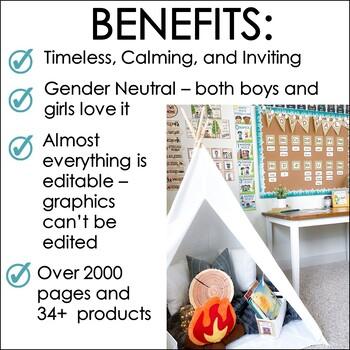 Camping Theme Classroom Decor Bundle,  Calendar, Word Wall, Schedule, Banners