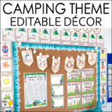 Camping Theme Classroom Decor Bundle: Editable Camping Cla