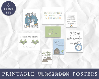 Camping Theme Classroom Decor, Camping Art Prints