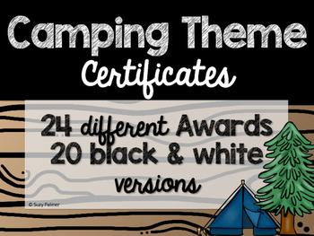 Camping Theme Classroom Decor: Certificates & Awards
