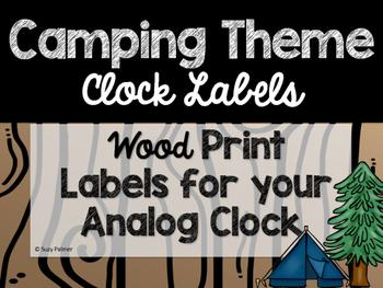 Camping Theme Classroom Decor: Clock Labels