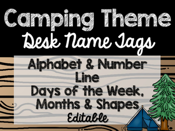 Camping Theme Classroom Decor: Desk Name Tags