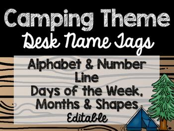 Camping Theme Classroom Decor: Desk Name Tags
