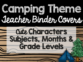 Camping Theme Classroom Decor: Teacher Binder Covers
