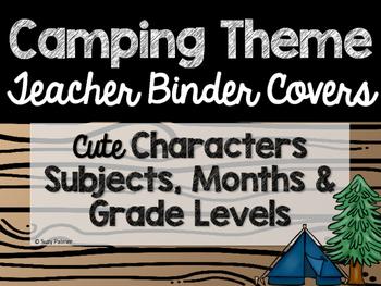 Camping Theme Classroom Decor: Teacher Binder Covers