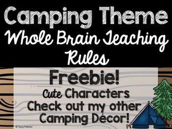 Camping Theme Classroom Decor: Whole Brain Teaching Rules FREEBIE