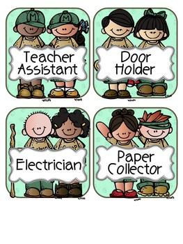 Camping Theme Classroom Jobs EDITABLE