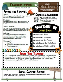 Camping Theme Classroom Newsletter