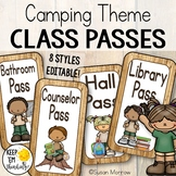 Camping Theme Hall Passes:  Camping Theme Classroom Decor