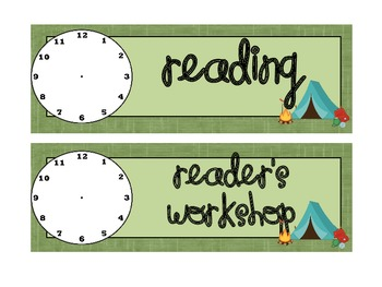 Camping Theme Classroom Schedule Cards