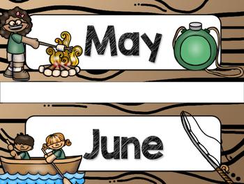 Camping Theme Classroom Decor: Calendar Headers