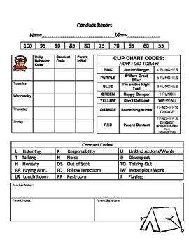 Camping Theme Conduct Record Sheet