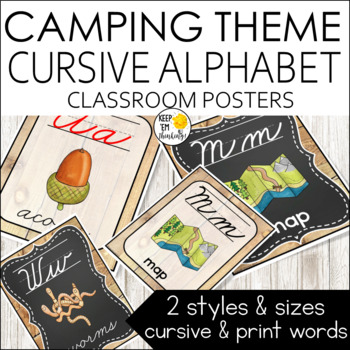 Camping Theme Alphabet Posters Cursive Font - Camping Theme Classroom Decor