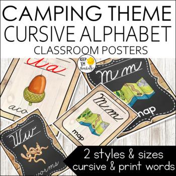 Camping Theme Alphabet Posters Cursive Font - Camping Theme Classroom Decor
