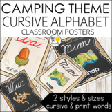 Camping Theme Alphabet Posters Cursive Font - Camping Them