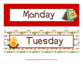 Camping Theme Days of the Week Calendar Headers