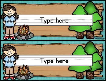 Camping Theme Desk Helper Name Tags (Editable)