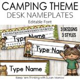Camping Theme Desk Nameplates Editable - Camping Theme Classroom Decor