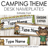 Camping Theme Desk Nameplates Editable - Camping Theme Cla