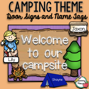 Camping Theme Door Signs and Name Tags (Editable)