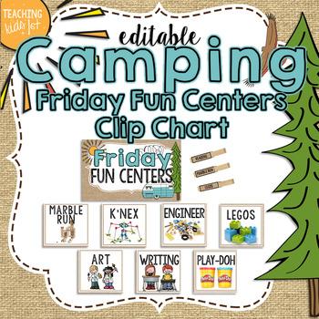 Camping Theme Editable Friday Fun Center Clip Chart