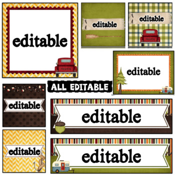 Camping Theme Editable Labels