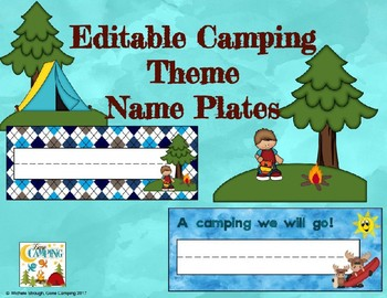Camping Theme Editable Name Plates