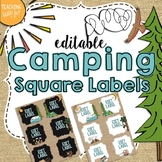 Camping Theme Editable Square Labels
