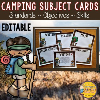 Camping Theme Editable Subject, Skill, Objective, or Standard Posters