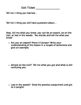 Camping Theme Exit Ticket
