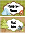 Camping Theme Food Labels