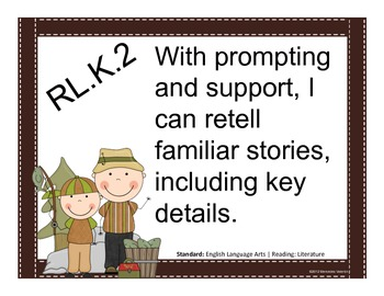 Camping Theme I can ELA Common Core Posters: Kindergarten