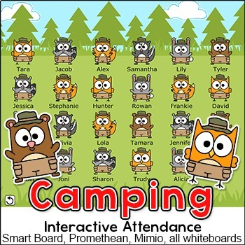 Camping Theme Interactive Attendance for All Whiteboards a