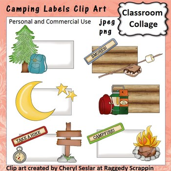 Camping Theme Labels or Frames Clip Art Color  personal & comm use C Seslar